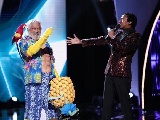 """Tommy Chong and host Nick Cannon in the """"New Masks"""