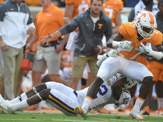 Tennessee running back Carlin Fils-Aime (27), a Naples