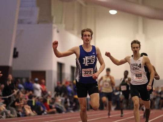Fort Defiance's Jacob Jones edges Turner Ashby's Sam Quesenberry in the Class 3 500-meter run at Saturday's state track meet in Salem.