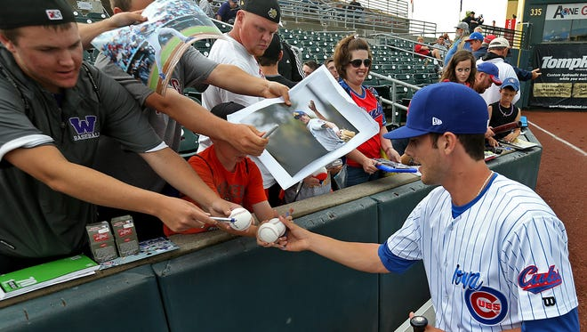 Kris Bryant, seen here with the Cubs in 2014, played his first game for the Chicago Cubs on Friday.