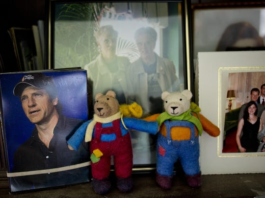 Photographs of Mike Rowe are displayed among family photos at Carolyn and Marilyn Maedel's home in St. Clair. The two have been on several shows with Mike Rowe, and are unofficially considered his biggest fans.