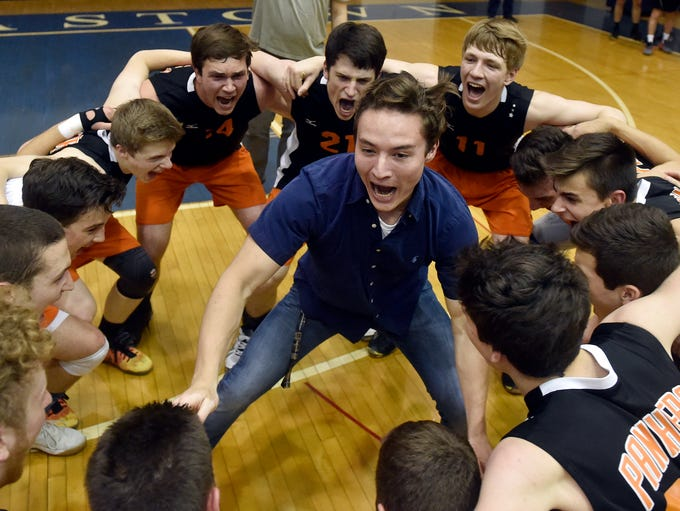 Central York senior Drew Anderson, center, celebrates