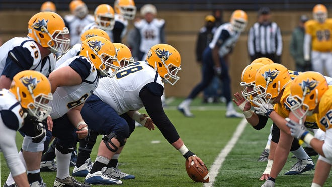 Augustana plays a spring football game at Kirkeby-Over Stadium in Sioux Falls, S.D., Saturday, April, 30, 2016.