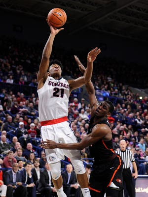 Gonzaga Bulldogs forward Rui Hachimura (21) shoots the basketball against Pacific Tigers forward Anthony Townes (5) during the second half at McCarthey Athletic Center.