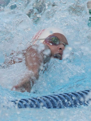 New York Athletic Club's Kate Douglass won the 12 and under 50 yard freestyle at the Westchester Swimming Championships at Rye Playland the July 30, 2014.