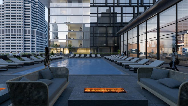 A pool and terrace would be on the roof of a new five-story office and retail building connecting the Atlas building and the tower.