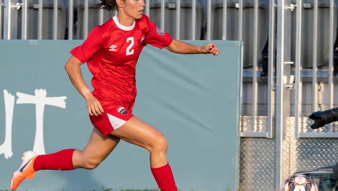 Marley Zochert brings the ball upfield for FC Austin Elite during the team's 3-1 win over the San Antonio Athenians last July. The Elite were planning on playing in next month's  UWS National Cup in Round Rock, but on Friday the tournament was canceled due to COVID-19 concerns.