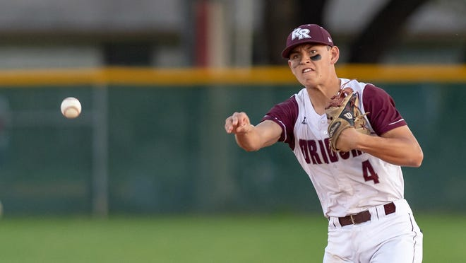 Infiielder Luke Almendarez throws to first for Round Rock in a game against Westwood in 2019. Almendarez, now playing for the University of Houston, will compete for the Round Rock Hairy Men of the Texas Collegiate League this summer.