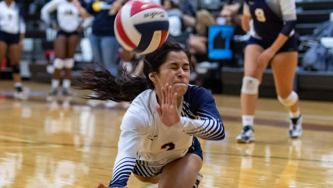 Stony Point's Bailey Cardenas dives for a shot against Westwood in a match last season. Cardenas will help anchor the Tigers' defense this season.