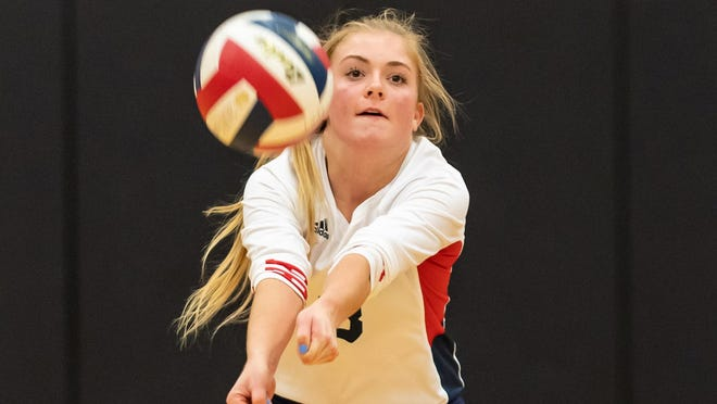 Wimberley libero Rhyan Masur, seen here versus Caldwell last year, had 39 digs in a five-set win over Rogers on Tuesday. The Texans are 10-3 on the year entering district play.