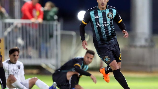 Xavi Báez (in action during the 2019 season) scored the first of four goals in Austin Bold's shutout of Sporting Kansas City II on Tuesday. With the win, the Bold are back in playoff position.