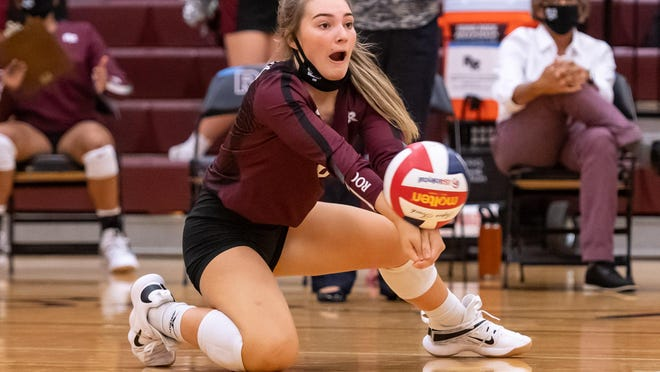 Joley Plummer and the Round Rock volleyball team swept Vandegrift in the District 25-6A opener for bth teams Friday.