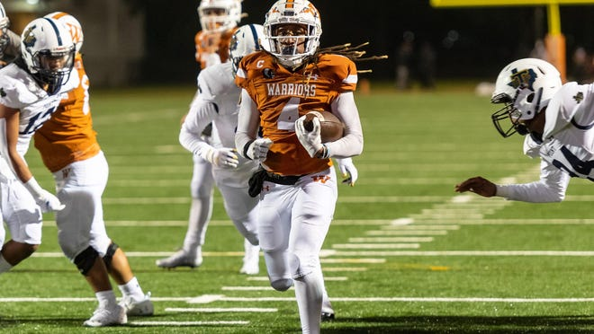 Nate Anderson gets a big hole and goes in to score for Westwood against Stony Point. Westwood won a district football game 42-15 over Stony Point at Kelly Reeves Athletic Complex on Monday.