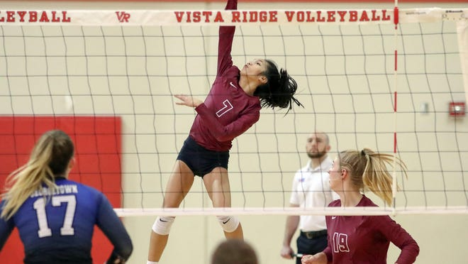 Rouse outside hitter Kayla Lopez, playing against Georgetown in a playoff match last season, had 12 kills as the Raiders returned aftter a two-week quarantine to sweep Leander Tuesday at Rouse High School.