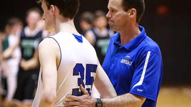 Hopedale High boys basketball coach Tony Cordani, pictured in 2017, was recently named an MBCA Divisin 4 boys basketball Coach of the Year.