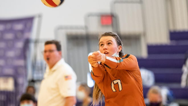 Kenzie Beckham, passing during a match against Westwood in October, averaged 34 assists and nine kills with 16 digs in two contests to earn American-Statesman player of the week honors.