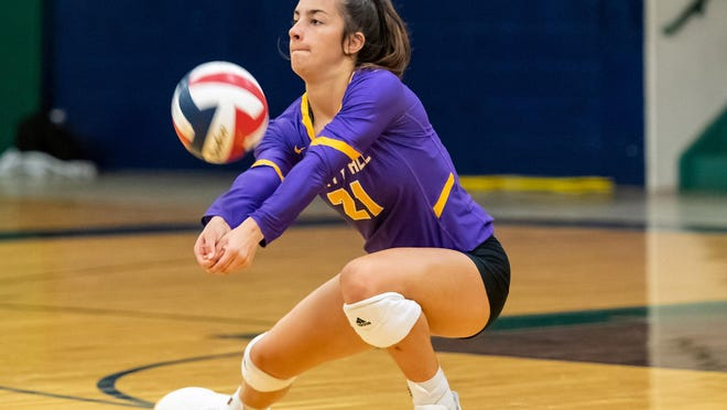 Liberty Hill libero Haley Kuhlmann, returning a serve against Westwood last season, was a gymnast for six years before branching out to basketball, volleyball and track.
