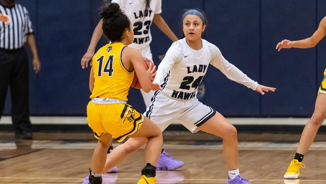 Hendrickson's Erika Suarez, right, returns as one of the top two-way guards in the Austin area and is part of a loaded Hawks' team