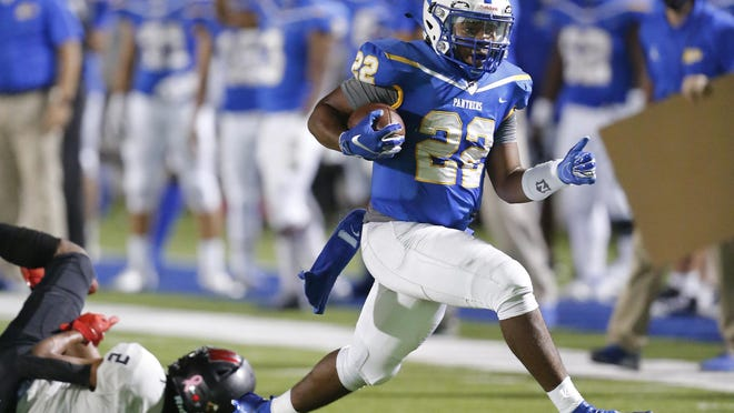 Pflugerville running back Elijah Oakmon is one of two Panther running backs on pace for a 1,000-yard rushing season.