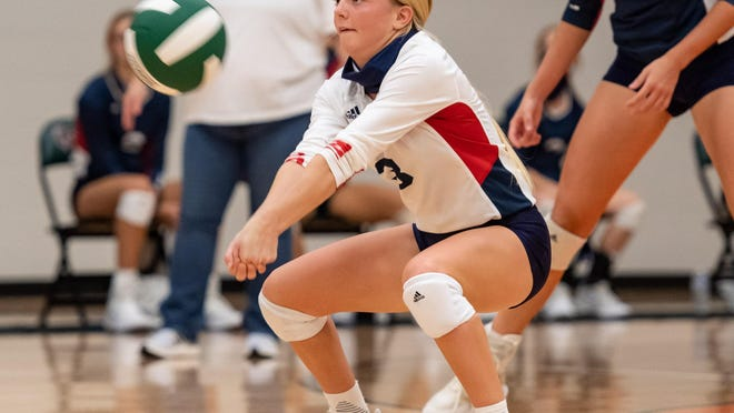 Rhyan Masur, passing during a match earlier in the season, had 26 digs for Wimberley in the Texans' Class 4A state title loss to Decatur Saturday.