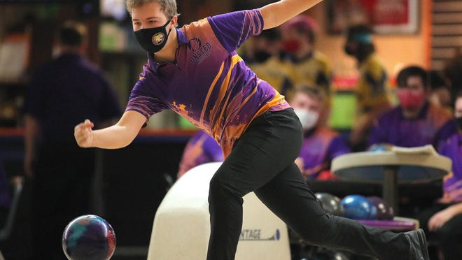Onsted's Kyle Bayes rolls during the LCAA boys jamboree Saturday at Ten Pin in Tecumseh.