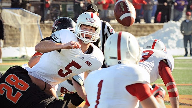 St. John's quarterback Nick Martin (5) just gets off a short pass to Josh Bungum (1) against Wartburg College Saturday.