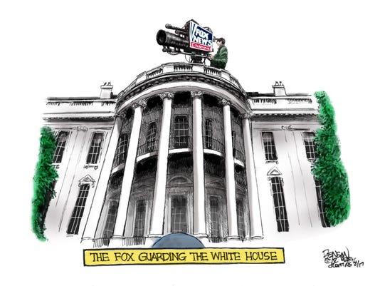 A Fox (News) guarding the White House