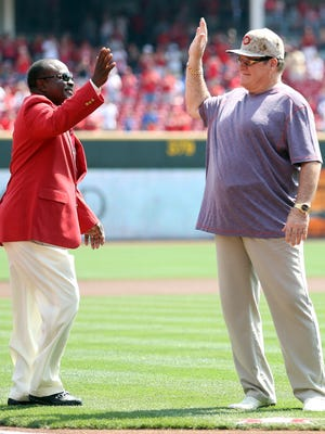 Former Reds teammates Joe Morgan and Pete Rose are honored at GABP in September of 2013.