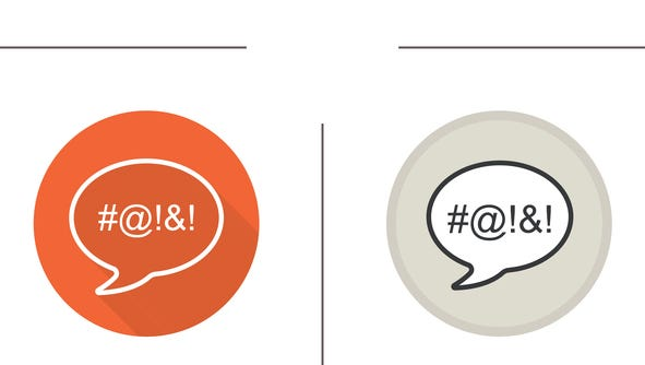 Dirty language flat design, linear and color icons set. Chat bubble with censored swearing words. Cursing
