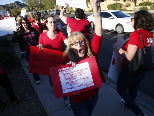 Teachers protest Ducey