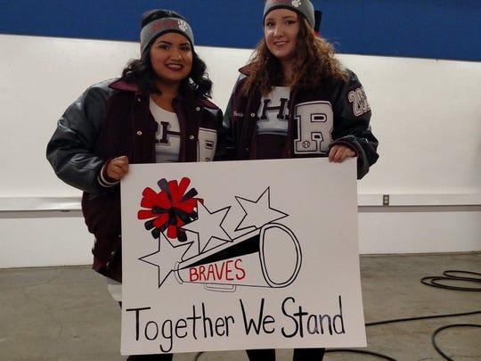 Ranger cheerleaders showing their support of Iraan