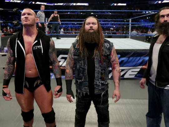 The Wyatt Family — Randy Orton (from left), Bray Wyatt and Luke Harper — will appear on Tuesday, Jan. 31, 2017, at WWE SmackDown Live at American Bank Center arena.
