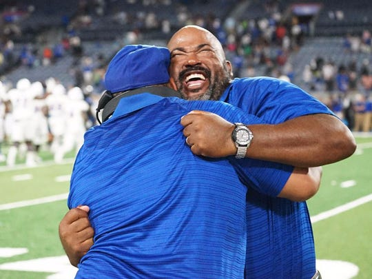 Tennessee State coach Rod Reed celebrates during the