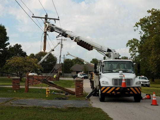 A truck snagged a low-hanging Mediacom line and caused a utility pole to snap in half Monday, Sept. 18, 2017.