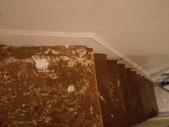 The stairwell of Hattie Hunter's house before renovation.
