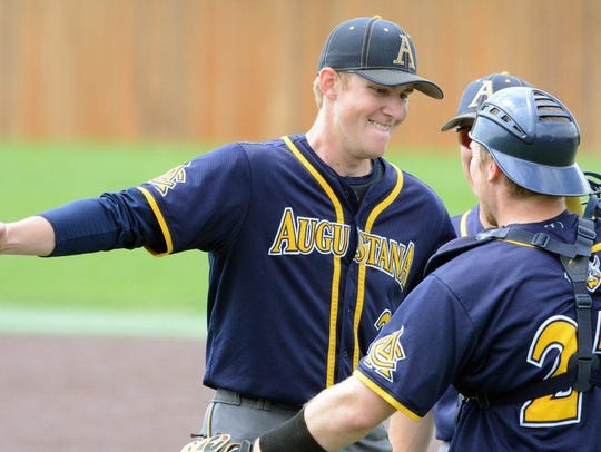 Augustana pitcher Jacob Blank celebrates no-hitting