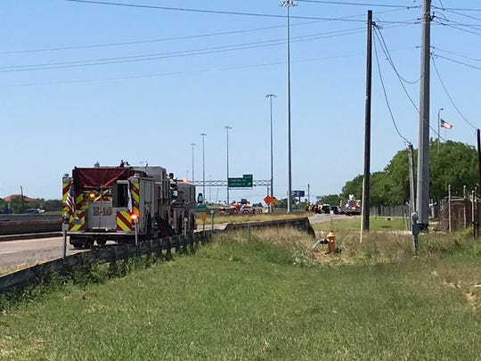Northbound lanes of Interstate 37 were blocked off following a report of a possible fuel leak. There were no reports of injuries.