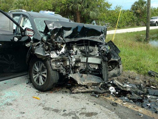 A three-car crash in Palm City left Susannah Barry Gobler dead and another hospitalized, Florida Highway Patrol said.