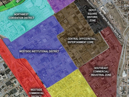 An image by Freese and Nichols shows the districts of downtown including the Depot Square Historic District in grey,