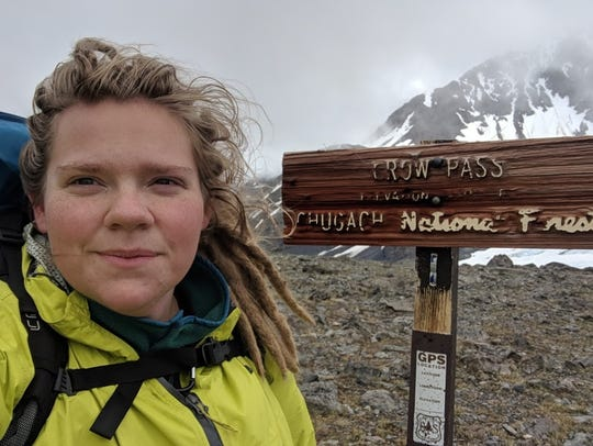 Amelia Milling at Crow Pass in Alaska, where she encountered