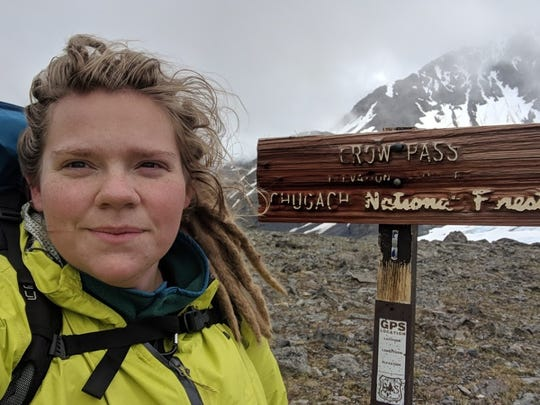 Amelia Milling at Crow Pass in Alaska, where she encountered a husky dog that likely saved her life.