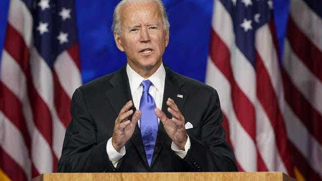 Democratic presidential candidate former Vice President Joe Biden speaks during the fourth day of the Democratic National Convention, Thursday, Aug. 20, 2020, at the Chase Center in Wilmington, Del. President Donald Trump and Democratic challenger Joe Biden are entering a 64-day sprint to the finish that is widely expected to be one of the most turbulent and chaotic periods in the modern history of American politics. Each side cast the other as an existential threat to America's future as they offered voters starkly different versions of reality over the last two weeks of carefully scripted conventions.