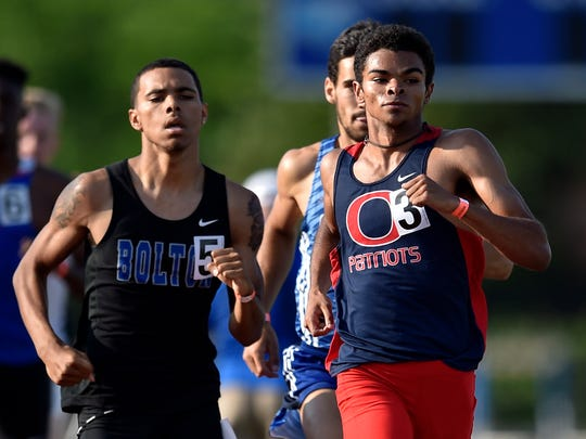 Oakland's Nathan Mack (3) placed fifth in the 800 at