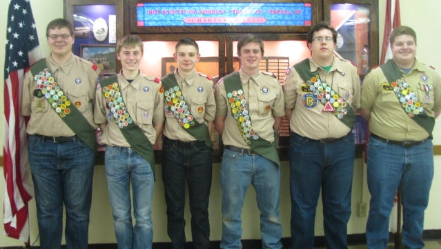From left, Eric Lethin, Joshua Tomaka, Andy Isaccs, David Foran, Harrison Barnes and Joe Mangiacapra, all of Boy Scout of America Troop 221 in Vestal, recently reached the rank of Eagle Scout.