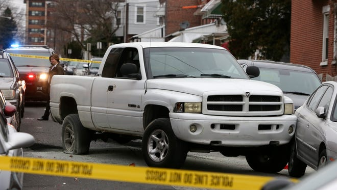 Charles May, 66, was fatally shot in this Dodge Ram pickup truck near Gordon and Lamotte streets in Wilmington on Jan. 14, 2017.