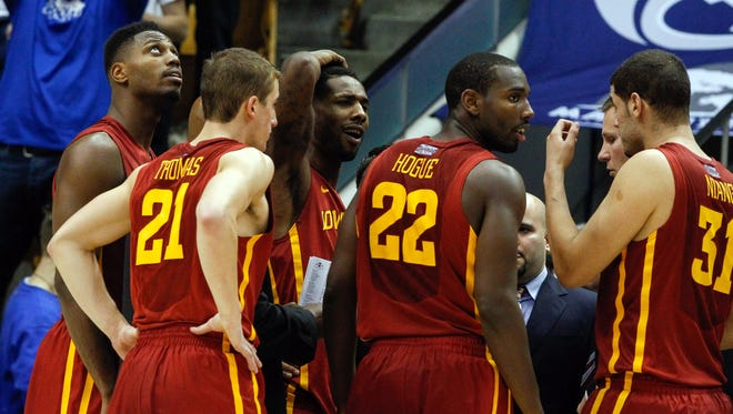 Iowa State Cyclones guard DeAndre Kane (center) after being told of his ejection for a flagrant 2 foul against Brigham Young Cougars forward Eric Mika (not pictured) in the second half at Marriott Center.  Iowa State Cyclones won 90-88.