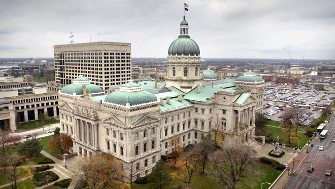 The Indiana Statehouse is seen from the roof of the Capitol One Building over the corner of Capitol and Washington avenues.