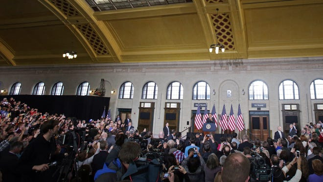 St. Paul's Union Depot, shown here during a 2014 speech by Barack Obama, will be the site of a big party for NFL owners Thursday.