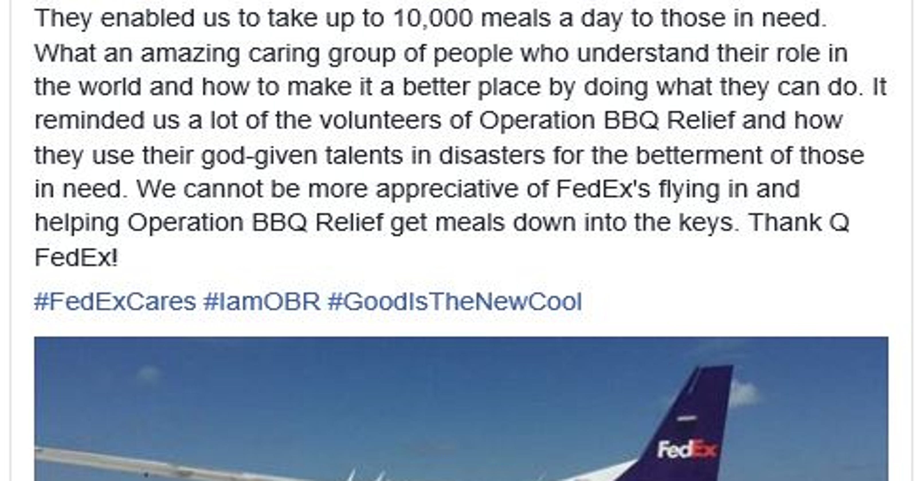 Thank Q\': FedEx airlifts barbecue to Irma victims in Florida Keys