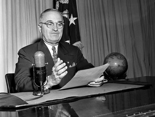 Image result for president truman announced the end of ww 2